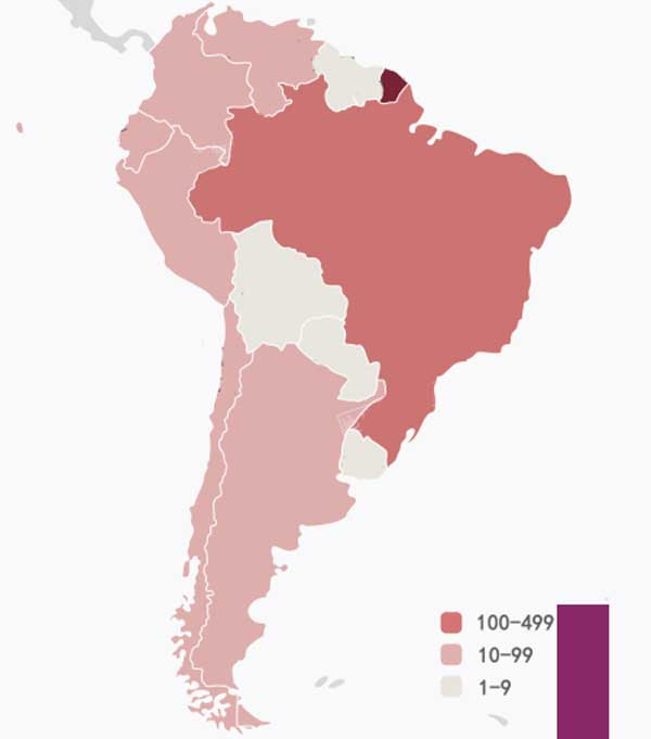 Brasil es el más afectado en Sudamérica